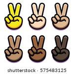 vector set of victory hands... | Shutterstock .eps vector #575483125
