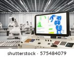 automation industry with 3d... | Shutterstock . vector #575484079