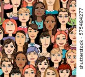 cartoon colored faces crowd... | Shutterstock .eps vector #575484277