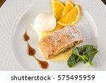 apple strudel with ice cream... | Shutterstock . vector #575495959