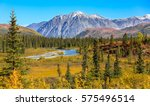 scenic fall landscape with snow ... | Shutterstock . vector #575496514