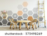 mock up wall in child room... | Shutterstock . vector #575498269