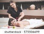 leisure. woman in spa salon | Shutterstock . vector #575506699
