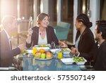 group of businesspeople having... | Shutterstock . vector #575507149