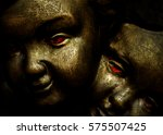 close up dark angels faces with ... | Shutterstock . vector #575507425