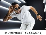 young handsome hipster man... | Shutterstock . vector #575512141