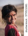 Small photo of AMRAVATI, MAHARASHTRA, INDIA, 27 NOVEMBER 2016: Portrait of unidentified poor children playing at street in a slum area of city.