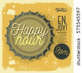 happy hour new age 50s vintage... | Shutterstock .eps vector #575545597