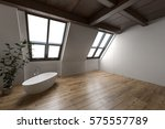 large attic bathroom with... | Shutterstock . vector #575557789