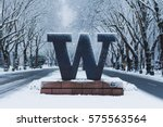 University of Washington welcome sign under snow
