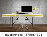 front view of thin office desk... | Shutterstock . vector #575564821
