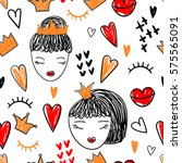 bright pattern doodle  girls in ... | Shutterstock .eps vector #575565091