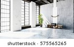 large bright room with concrete ... | Shutterstock . vector #575565265