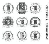 16th birthday celebration. set... | Shutterstock .eps vector #575566264