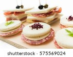 tray of salami and cheese... | Shutterstock . vector #575569024