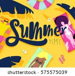 summer time poster with beach... | Shutterstock .eps vector #575575039