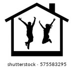silhouette of happy young... | Shutterstock .eps vector #575583295
