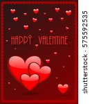 valentines day card with hearts ... | Shutterstock .eps vector #575592535