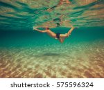 water view photo of a boy who...   Shutterstock . vector #575596324