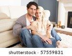 romantic young couple relaxing... | Shutterstock . vector #57559831