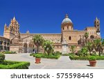 palermo cathedral is the... | Shutterstock . vector #575598445