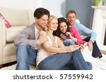 group of  friends looking at... | Shutterstock . vector #57559942