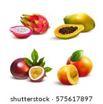 ripe tropical fruits and slices ... | Shutterstock .eps vector #575617897