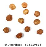 whole hazelnuts isolated on... | Shutterstock . vector #575619595