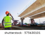 engineers are working on road... | Shutterstock . vector #575630101