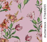 floral seamless pattern with... | Shutterstock . vector #575643055