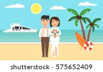 Stock vector summer background sunset beach the sea yachts palm trees and newly married couple wedding 575652409
