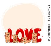 cute teddy bears and letters ... | Shutterstock .eps vector #575667421