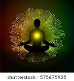 man meditate dark red yellow... | Shutterstock .eps vector #575675935