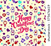 valentine's day vector seamless ... | Shutterstock .eps vector #575676619
