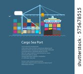 cargo container ship and text ... | Shutterstock .eps vector #575678515