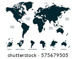 blue world map vector on white... | Shutterstock .eps vector #575679505