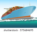 cargo ship with containers on... | Shutterstock .eps vector #575684695