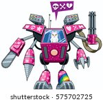 white pussycat operating pink... | Shutterstock .eps vector #575702725