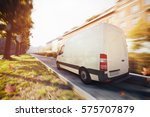deliveries truck in the city .... | Shutterstock . vector #575707879