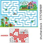 dwarf house. help dwarf to find ... | Shutterstock .eps vector #575708989