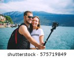 tourist  couple of lovers... | Shutterstock . vector #575719849