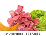 beef with lettuce on a white background - stock photo