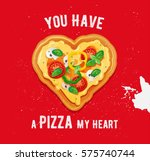 pizza love card design with...   Shutterstock .eps vector #575740744