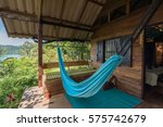terrace of bungalow with sea... | Shutterstock . vector #575742679