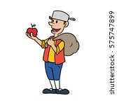 johnny appleseed cartoon vector ... | Shutterstock .eps vector #575747899