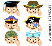 future goals a boy vector... | Shutterstock .eps vector #575757259