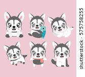 cute cartoon siberian husky... | Shutterstock .eps vector #575758255