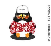 miami penguin. hawaii. vector... | Shutterstock .eps vector #575760229