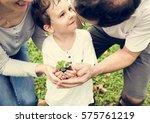 kid gardening greenery growing... | Shutterstock . vector #575761219