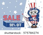 uncle sam owl magician shows a... | Shutterstock .eps vector #575784274